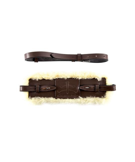 MaKeBe leather nose- and chinband with sheepskin